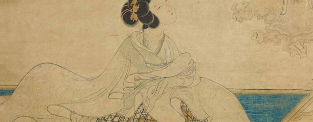 A Lady perfuming her Sleeves, detail, ink and colours on silk, 129.6 X 47.3 cm, Chen Hongshu (1598-1652), Ming dynasty, Shanghai Museum