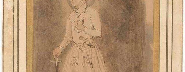 Jahangir by Rembrandt Harmenszoon van Rijn (Dutch, 1606-1669), about 1656, brown ink on paper, unframed 18.3 x 12 cm. Credit: Rijksmuseum, Amsterdam.