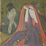 Courtesan and Her Guest Beneath a Mosquito Net by Kitagawa Utamaro (1754-1806), circa 1800, signed Utamaro hitsu, colour woodblock print, 39.1 x 26 cm, Sebastian Izzard Asian Art