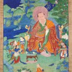 Nagasena Arhat, 17th century, possibly Kham (East Tibet), tradition: Gelug, pigments on cloth.