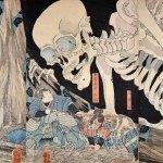 Princess Takiyasha and the Skeleton Spectre by Utagawa Kuniyoshi (1797-1861), circa 1845, woodblock print, 14 x 30 inches, triptych, Ronin Gallery