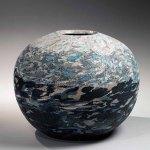 Himalaya (1985) by Matsui Kosei, globular neriage vessel, marbleised stoneware, 14 x 16.5 inches, Joan Mirviss. Photo: by Richard Goodbody