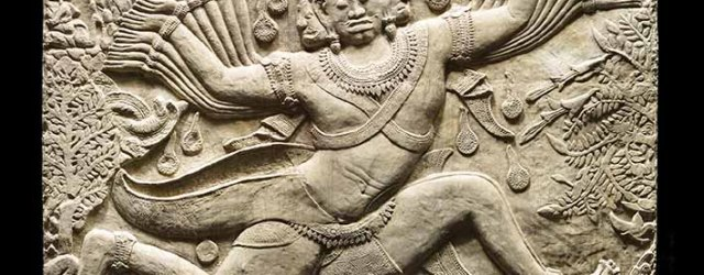Plaster cast of Ravana shaking Mount Kailasa, from a panel of the south wall in the est arm of the southwest corner pavilion of the third gallery in Angkor Wat, Siem Reap, 1890-91, painted plaster, 70 x 123 x 8 cm. The cast shows the demon Ravana shaking Mount Kailasa, the home of Shiva and Parvati