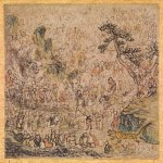 Five Hundred Arhats (1798) by Nagasawa Rosetsu,hanging scroll, ink and light coloor on paper, 3.1 x 3.1 cm. Private collection, Japan
