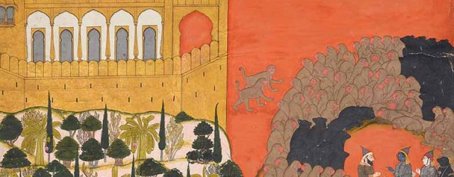 Two Spies Approach, Folio from the (large-size) Siege of Lanka series, circa 1725, by Manaku of Guler, Pahari region, India, Collection of Barbara and Eberhard Fischer, on loan to the Museum Rietberg