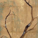Paper for wrapping incense by Ogata Korin, decorated with weeping willows, 1704-11, colours on gold leaf on silk-covered paper, Hosomi Museum, Kyoto