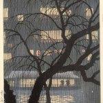 Dotonbori (1928) by Uehara Konen (1878-1940), woodblock print, 39,1 x 26.3 cm, Collection Elise Wessels – Nihon no hanga, Amsterdam
