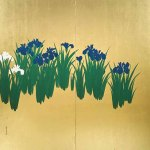 Iris by Kamisaka Sekka, 1920-1940, pair of two-fold screens, ink and gold leaf, private collection, Kyoto