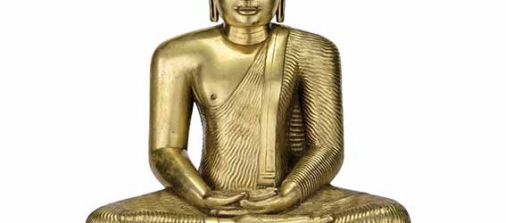 Buddha Shakyamuni, Kandy period 18th century, gilt copper alloy with partial black coating, 41.91 x 36.2 x 21.13 cm, purchased with funds provided by Murray and Virginia Ward © Museum Associates/LACMA