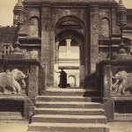 Entrance to the Buddhist Temple, Kandy, albumen silver print, circa 1880-90, by Scowen & Co, 21 x 25.7 cm, gift of Gloria Katz and Willard Huyck © Museum Associates/LACMA. The image is of an unidentified monk standing in the arched gateway leading into the palace complex at the Dalada Maligawa, photographed during the last major period of construction between 1809-1812