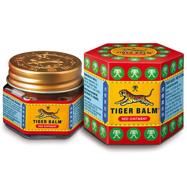 red tiger balm asian balm asianbalm ointment pain relief blood circulation menthol camphor cajuput mint clove cassia