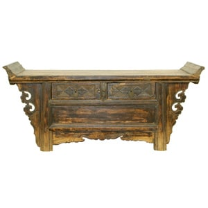 Antique Chinese 42 inch Flange Top Kang Table