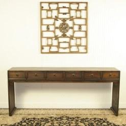 79 inch Long 6 drawer Console Table w scroll feet
