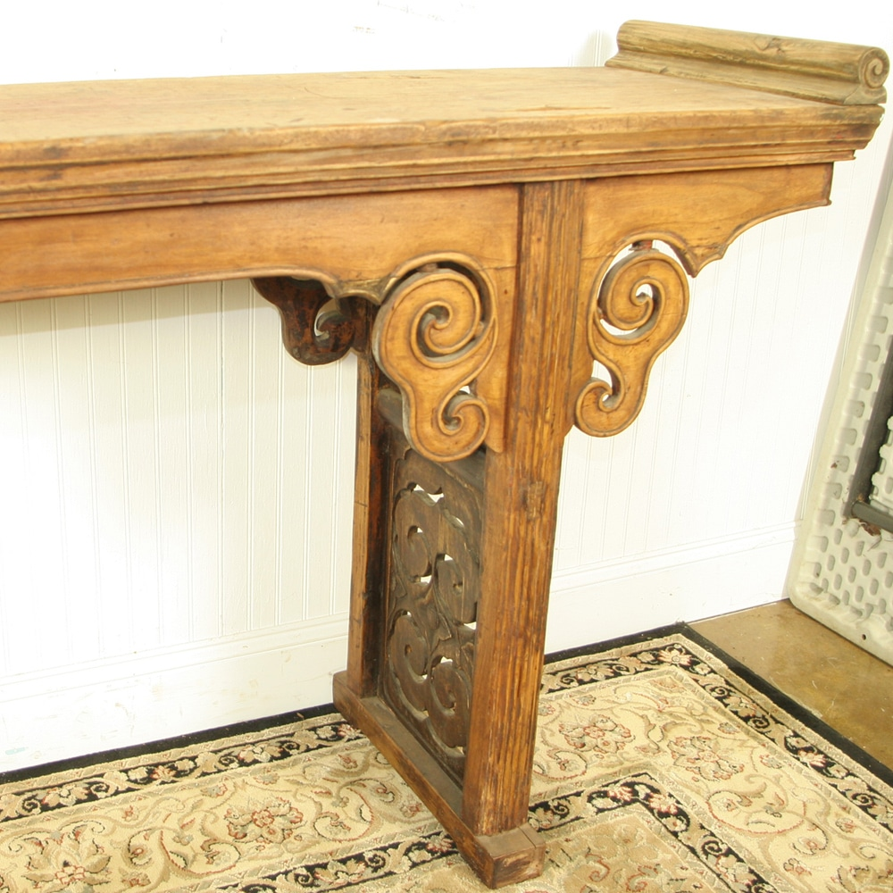 Antique Chinese 104 Inch Long Altar Sofa Table Light Wood