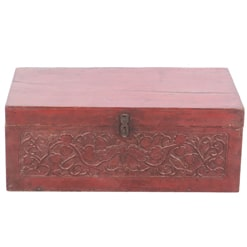 Antique Chinese 31 inch Wide Trunk Red