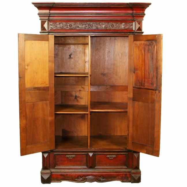 d3fe8c633 Rare Antique Red Chinese Wardrobe Wedding Cabinet