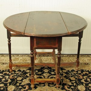 Antique Chinese 42 inch Round Drop Leaf Gate Leg Table