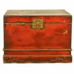 Antique Chinese 34 inch wide Red front Trunk