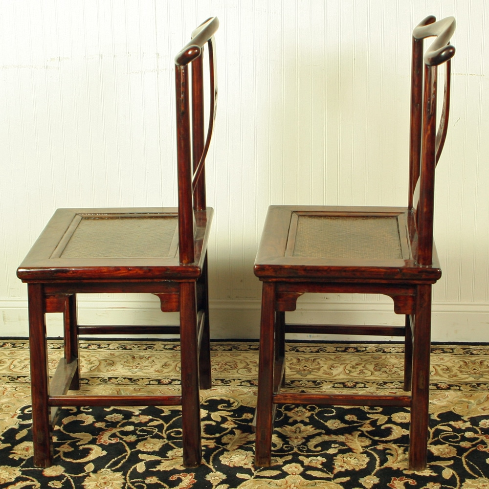 Antique Chinese Yoke Back Official Hat Chairs Brown Lacquer Woven Seat