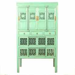 Antique Blue Green Chinese Tall Kitchen Vegetable Wine Cabinet