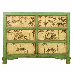 Repro Antique 48 inch Wide 6 Drawer Green Cabinet