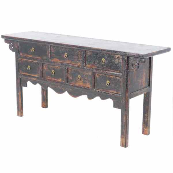 64 inch Long Black Asian Buffet table