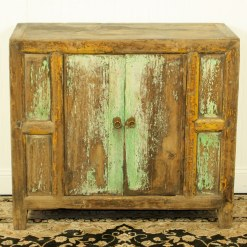 Antique Chinese 37 inch Rustic Blue Green Cabinet Vanity