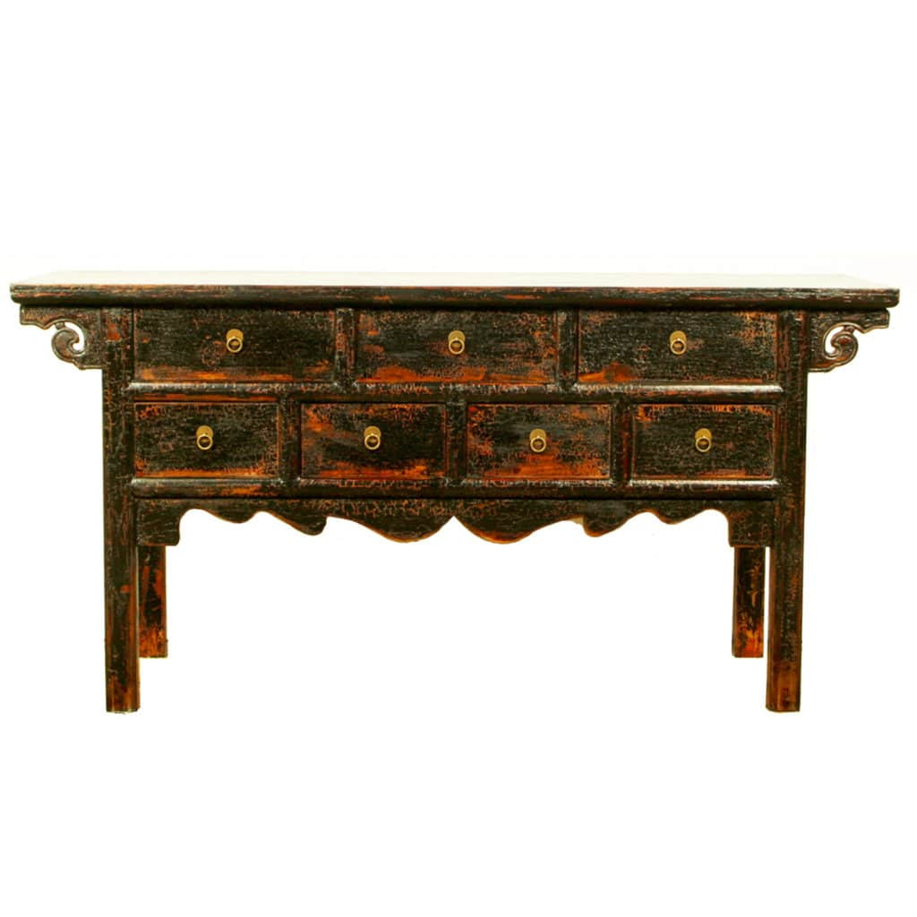 "19 inch Long Black Asian Buffet table, 19"" deep, 19 drawers"