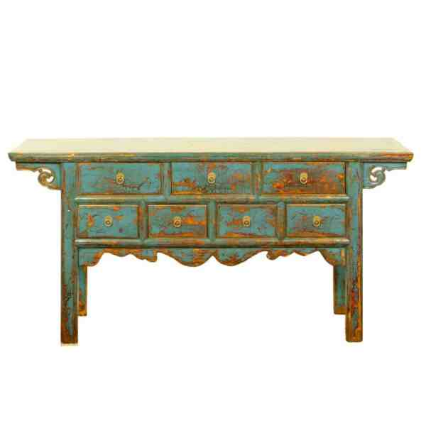 64 inch Long Repro 7 drawer table in Antique Blue Finish