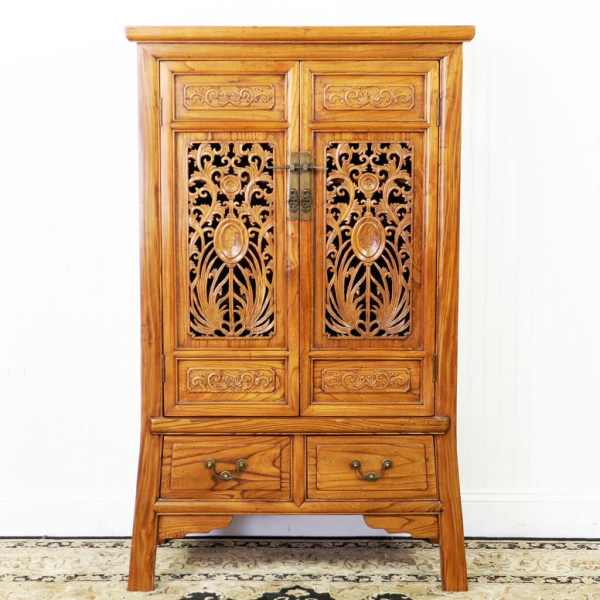 Chinese Carved 2 Door Elm Wood Cabinet