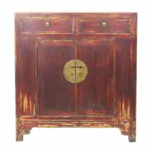 41 inch Wide Antique Chinese 2 Door Brown Cabinet
