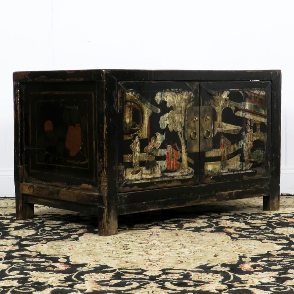 Antique Small 2 Door Black Cabinet Painted Scenes - Antique Small 2 Door Black Cabinet Painted Scenes, Chinese Asian