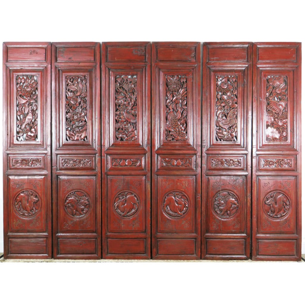 6 Carved Red Antique Chinese Asian Doors - 6 Carved Red Antique Chinese Asian Doors, 19
