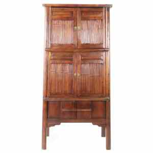 Antique Chinese Bamboo cabinet 76 inch tall