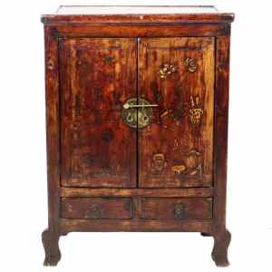 Antique Chinese 2 Door cabinet 32 Wide 42 Tall