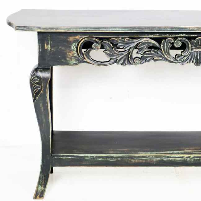 60 inch Repro Black Console Sofa Hall Table Antiqued Finish