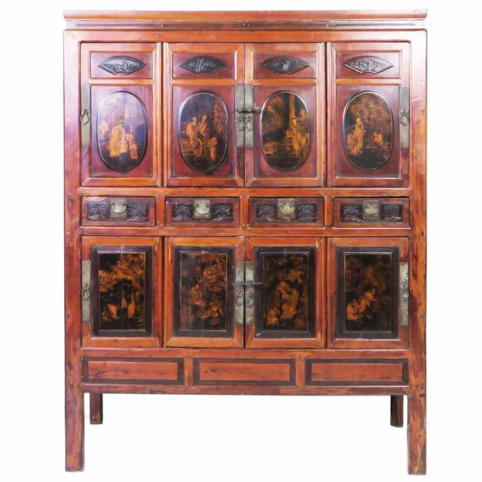 - Antique Chinese Large 8 Door Cabinet Gilded Designs. 54