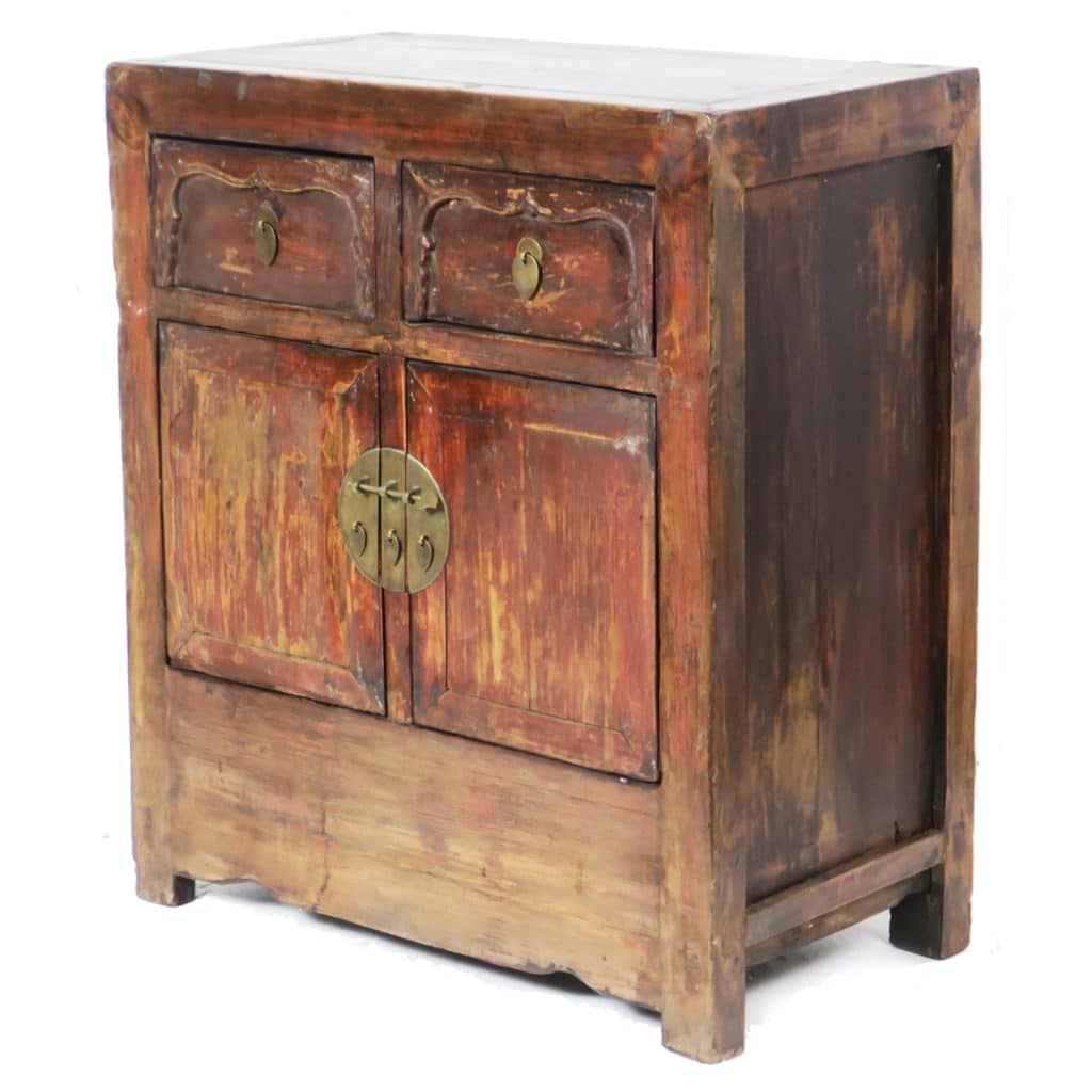 30 inch Wide Antique Chinese 2 Door Cabinet Vanity - 30 Inch Wide Antique Chinese 2 Door Cabinet Vanity, Bedside, End Table