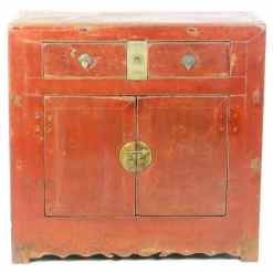 Antique Chinese 38 inch Wide 37 Tall 2 Door Red Cabinet