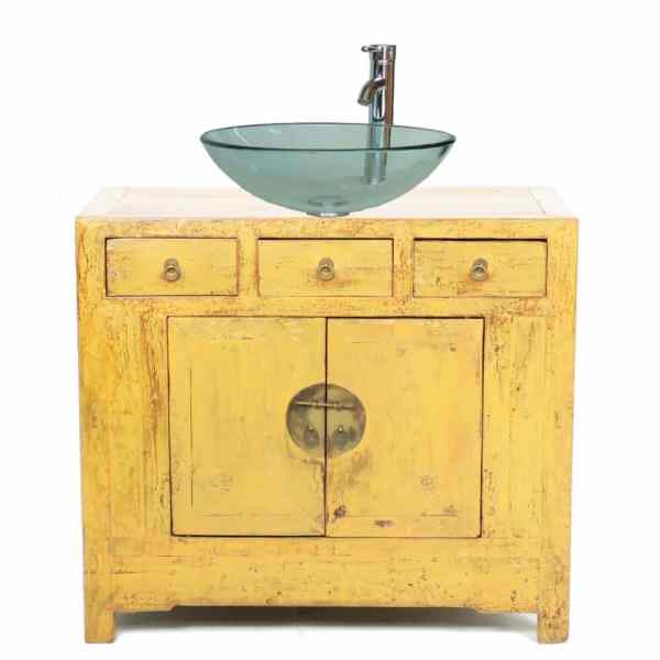 37 inch Wide Yellow Antique Chinese 2 Door Cabinet Vanity