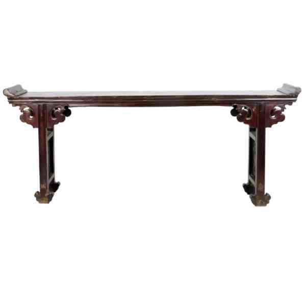 Antique Chinese 8 ft long Altar Table brown lacquer