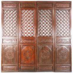 4 Antique Chinese Carved Courtyard Doors 21 Inch Wide 87 Tall
