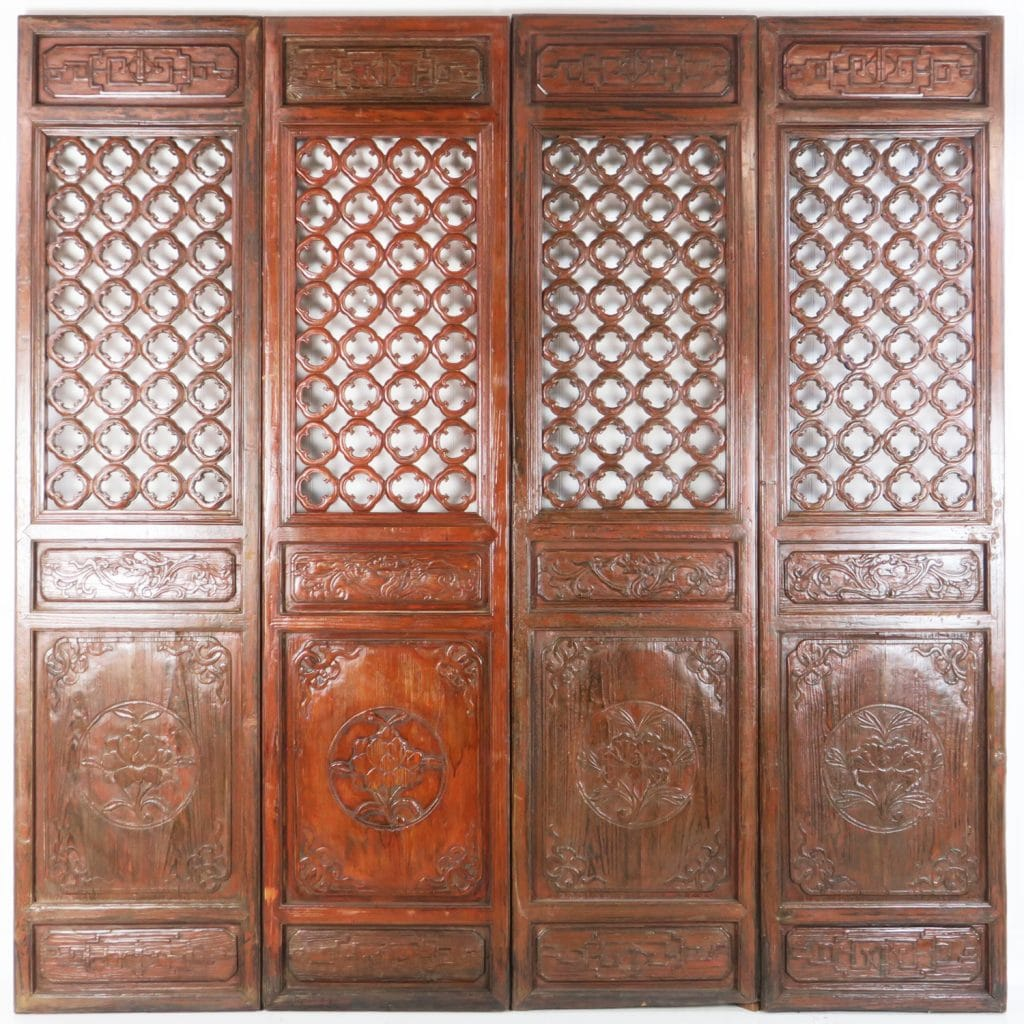 4 Antique Chinese Carved Courtyard Doors 21 Inch Wide 87 Tall & Antique Asian Doors and Decorative Wall Screens wood carved.