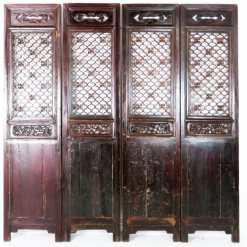 Set of 4 Antique Chinese Doors Dark Brown Carved Nice Headboard
