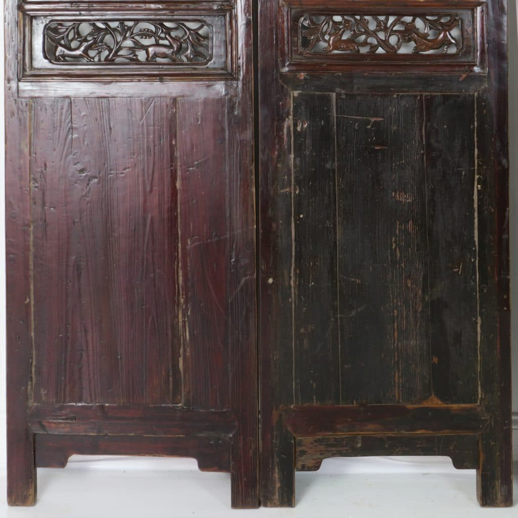 Set of 4 Antique Chinese Doors ... - Set Of 4 Antique Chinese Doors Dark Brown Carved Nice Headboard