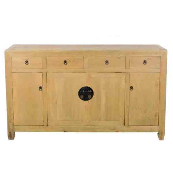 Antique Chinese Scrubbed Finish 61 inch Sideboard Buffet Cabinet