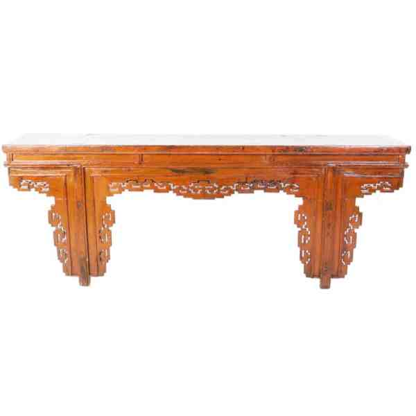 Antique Chinese 91 Inch long Orange Altar Console Table