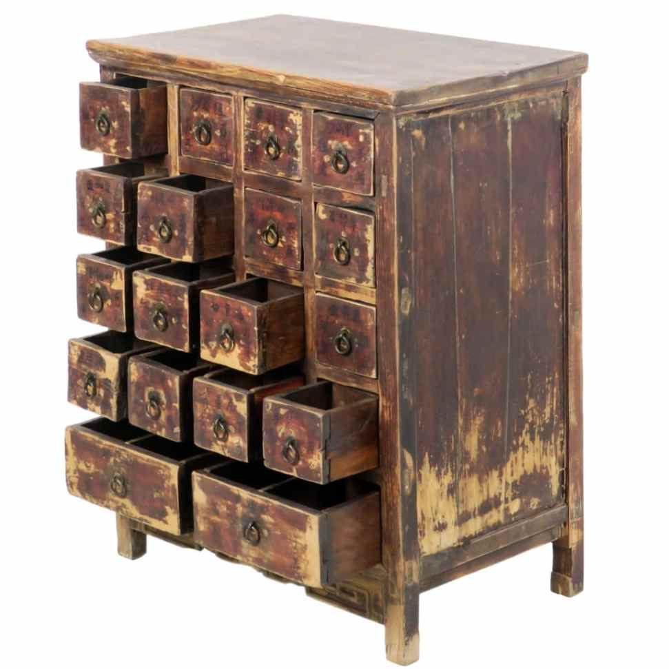 - Antique Chinese 27 Inch Wide 34 Tall Medicine Apothecary Cabinet, Herb