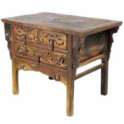 Antique Chinese 44 inch wide 3 Drawer Rustic Carved Cabinet Table