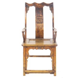 Antique Chinese High Back Elm Armchair Carved Back Splat